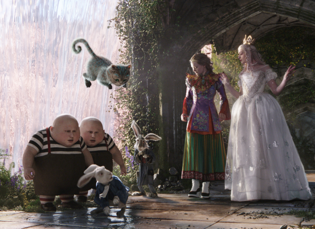 Mia Wasikowska as Alice and Anne Hathaway as the White Queen in Alice Through the Looking Glass. Photo courtesy: Disney Pictures