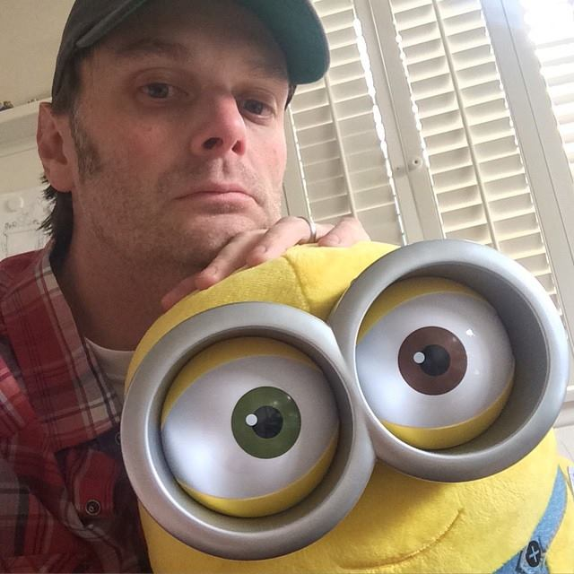 Screenwriter Brian Lynch with his Minion buddy. The blockbuster writer's films have grossed nearly $600 million worldwide.