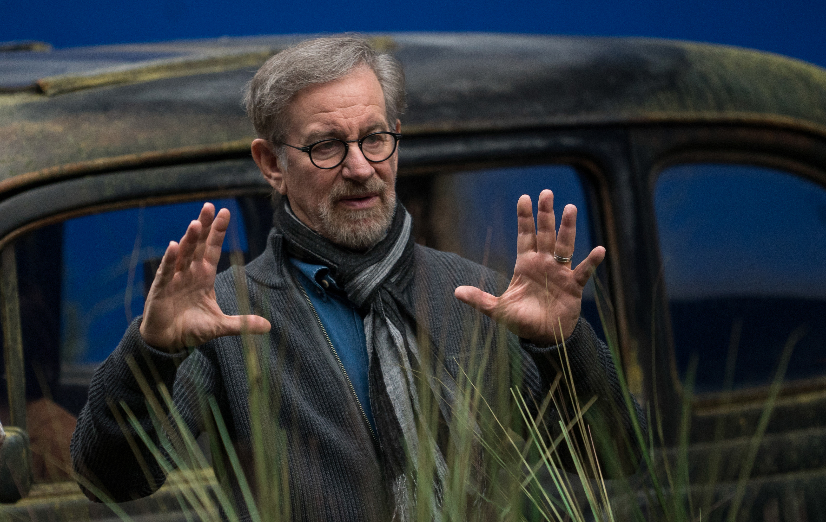 Director Steven Spielberg on the set of Disney's THE BFG, based on the best-sellling book by Roald Dahl. Photo courtesy: Disney Pictures