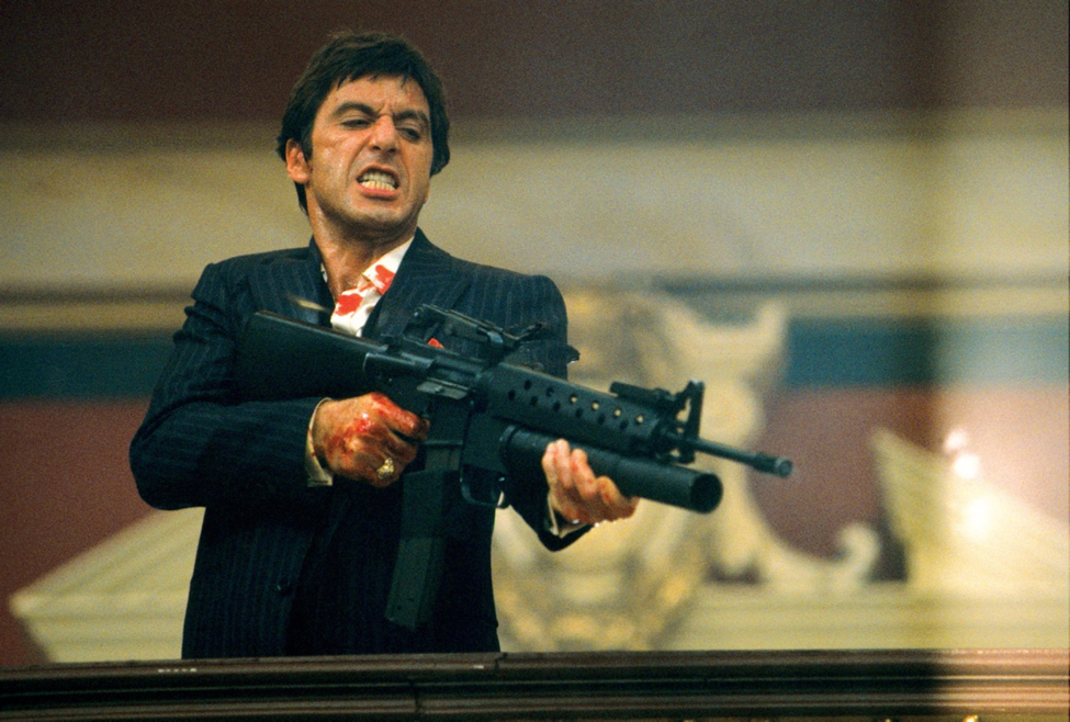 """""""Say 'hello' to my little friend."""" Scarface (1983) Photo courtesy: Universal"""
